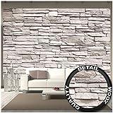 GREAT ART Fotomurale - muro di pietra bianca - decorazione murale carta da parati in pietra rivestimento murale decorazione murale design industriale decorazione 336 x 238 cm