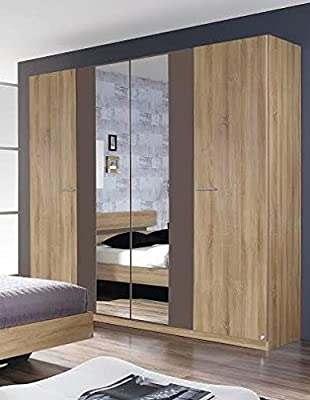 Rauch Almada 4 Door 2 Mirror Hinged Wardrobe in a Sonoma Oak With Lava Grey Finish - inexpensive UK light shop.