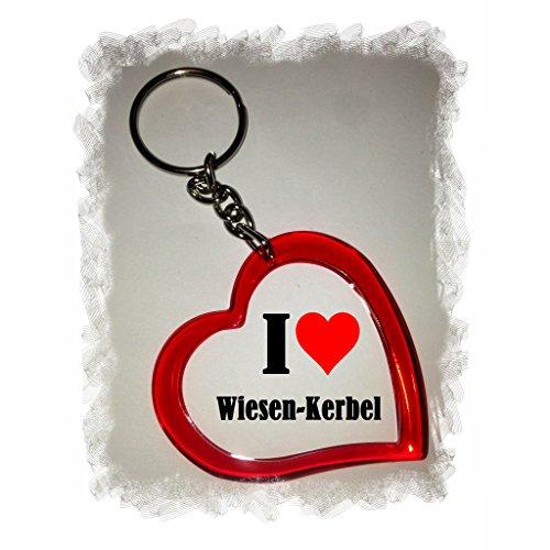 Druckerlebnis24 Herzschlüsselanhänger I Love Wiesen-Kerbel, eine tolle Geschenkidee die von Herzen kommt| Geschenktipp: Weihnachten Jahrestag Geburtstag Lieblingsmensch