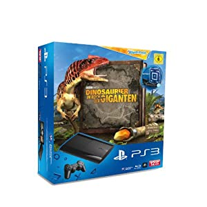 PlayStation 3 – Konsole Super Slim 12 GB (inkl. DualShock 3 Wireless Controller + Move Starter Pack + Wonderbook: Dinosaurier – Im Reich der Giganten