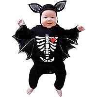 Halloween Costume for Neonato, 2PCS Bambino Pagliaccetto Romper Pipistrello Manica Body Tuta con 3D Orecchio Cappello…
