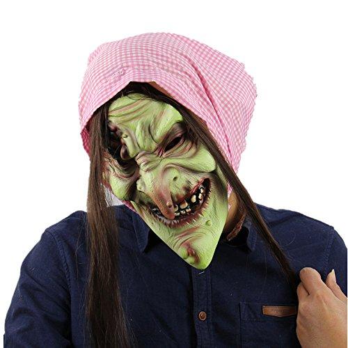 CJWLOY Latex alte Hexe Maske und Schals für Halloween Party Kostüm Dekorationen