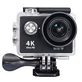 """Raynic Action Cam 4K, Wimius Sport Action Camera WIFI Full HD 12MP, Fotocamera Subacquea 4k Impermeabile WebCamera 170°Grandangolare 2.0"""" Schermo LCD con Vari Accessori Kit Nero"""