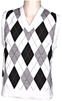 Mens Sleeveless Knitted Classic Style argyle Tank Tops Waistcoat Cardigans V Neck Sweater With Front Diamond Msk-105