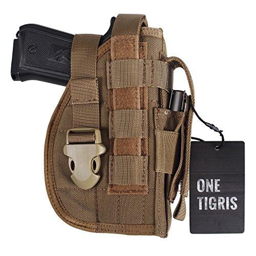 OneTigris Taktische Molle Modular Pistolenholster mit Magazintasche für Rechtsschützen 1911 45 92 96 Glock (Khaki) - Tec-druckkopf