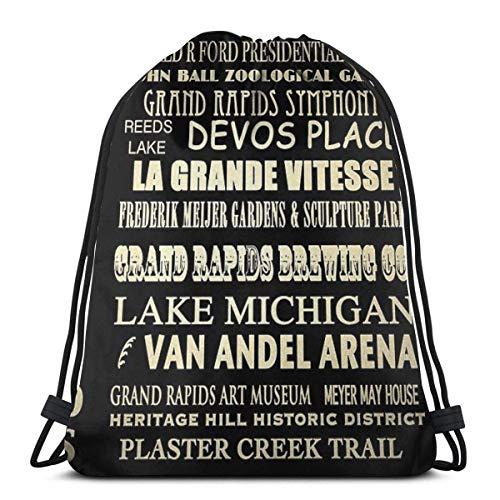 fengxutongxue Grand Rapids Famous Landmarks 3D Print Drawstring Backpack Rucksack Shoulder Bags Gym Bag for Adult 16.9