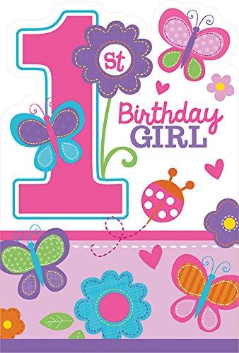 gskarten-Set * BIRTHDAY GIRL * für den Kindergeburtstag und Motto-Party // mit 8 Einladungen und 8 Umschlägen // Set Invitations Geburtstag Kinder Motto Mädchen Rosa 1 erster Pink ()