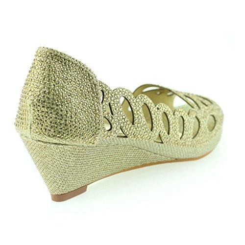 Frau Damen Abend Party Hochzeit Peeptoe Diamante Keilabsatz Sandale Schuhe Größe Gold