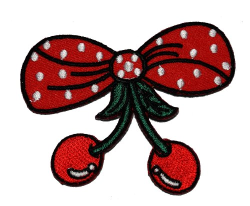 Bow Tie Applique (Cute Bow Tie and Cherry DIY Applique Embroidered Sew Iron on Patch BC-01 by Cherry)