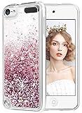 wlooo Coque pour iPod Touch 5/6/7, iPod Touch 5 Silicone Coque, iPod Touch 6 Glitter Liquide Paillette Protection TPU Bumper Housse Étincelle Pente Antichoc Souple Brillante Étui (Or Rose)