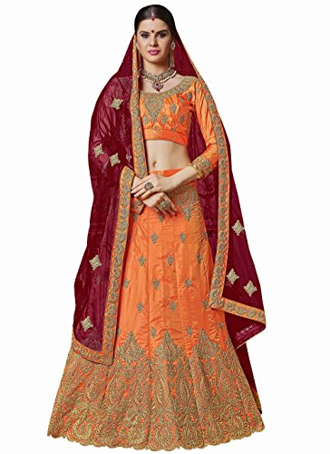 Manvaa ORANGE Color BANGALORI SILK Embroidery Designer Lehenga