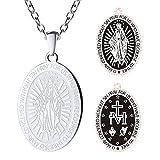 FaithHeart Unisex Halskette aus Edelstahl Halskette Oval Marian Kreuz Anhänger mit Rolo Kette Viktorianischer Stil Silber Wunderbare Medaille Ovalfür Dame Herren Frauen 55+5 cm Lange