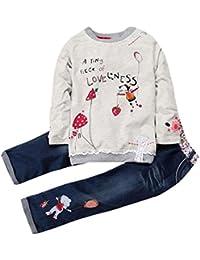 cba7c59152 K-youth Conjunto de Ropa para Niñas Venta Caliente Ropa Bebe Niña Invierno  Camiseta de Manga Larga Sudaderas Niña Top y Pantalones de…
