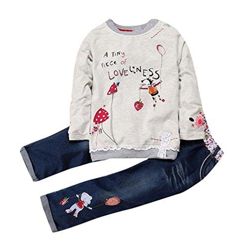 K-youth Conjunto de Ropa para Niñas Venta Caliente Ropa Bebe Niña Invierno Camiseta de Manga Larga Sudaderas Niña Top y Pantalones de Mezclilla(Gris, 12-18 Meses)