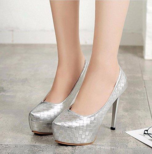 KHSKX-Argento 12Cm Di Luce Delle Scarpe High-Heel Semplice E Sottile Con Un Impermeabile Light-Sexy Unica Sottile High-Heel Scarpe Scarpe Singolo 41 35