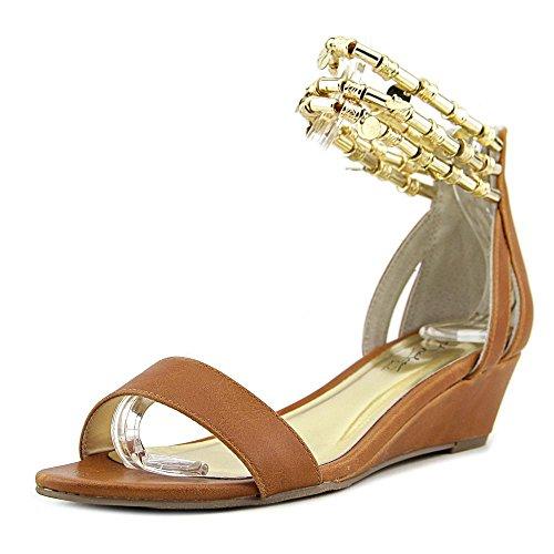Thalia Sodi Lordes Damen Kunstleder Keilabsätze Sandale Cognac