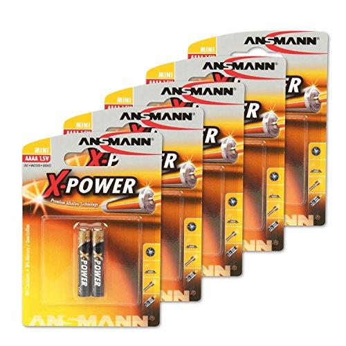 ANSMANN (10er-Pack) 1,5V Alkaline AAAA Batterie (Sondergröße AAAA/LR61) Batterie für Stylus Surface Pro/Dell Venue Pro Tablet, Hunde Leuchthalsbänder
