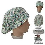Cappellino Chirurgico Medici, infermieri, dentisti, veterinari, cuochi per capello lunchhi FIORI Asciugamano sulla fronte, gomma e allentamento egolatore