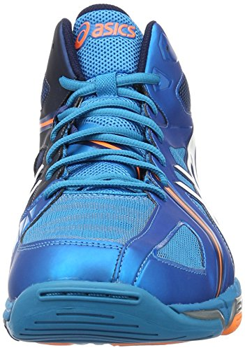 Asics Gel Volley Elite 3, Chaussures de Volleyball Homme Bleu (Mt Blue/White/Hot Orange)