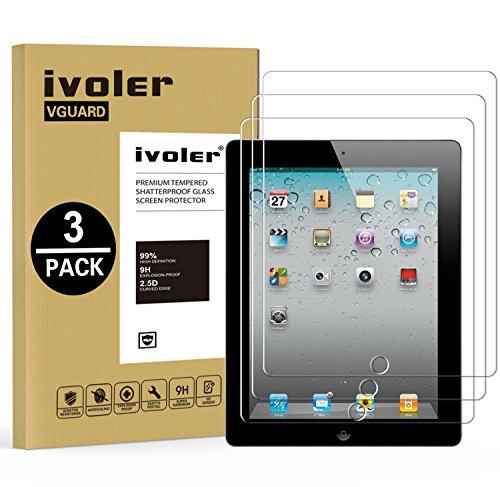 ivoler [3 Stücke Panzerglas Schutzfolie Kompatibel für Samsung Galaxy Tab S3 9.7 Zoll / S2 9.7 Zoll, 9H Härte, Anti- Kratzer, Bläschenfrei, 2.5D Runde Kante