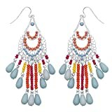 Front Row Silver Multi-Colour Beaded Chandelier Earrings