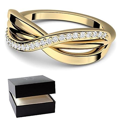 Zirkonia Ring Gold (Silber 925 hochwertig vergoldet) von AMOONIC mit SWAROVSKI Zirkonia Infinity Verlobungsring +GRATIS LUXUSETUI Unendlichkeits Ring Goldring Zirkonia Unendlichkeit FF586VGGGZIFA52
