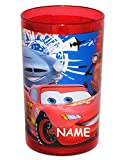 Unbekannt Disney Cars - Lightning McQueen  incl. Namen - 3 in 1 - Trinkbecher / Zahnputzbecher / Malbecher - Becher durchsichtig - Trinkglas aus Kunststoff Plastik -..