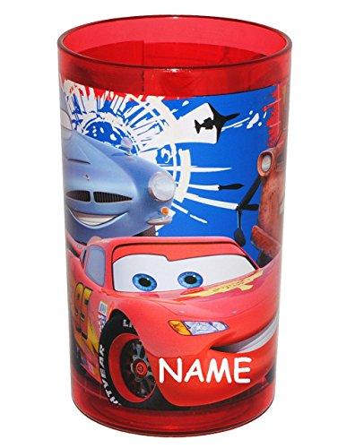 Unbekannt Disney Cars - Lightning McQueen  incl. Namen - 3 in 1 - Trinkbecher / Zahnputzbecher / Malbecher - Becher durchsichtig - Trinkglas aus Kunststoff Plastik -.. - Glas-zahnputzbecher