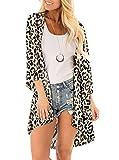 SHEKINI Kimono Cardigan di Chiffon Donna Estivo Elegante Casual Copricostume de Mare per Bikini Cover-Up Stampato Costume da Bagno Copribikini Allentato Beachwear (XXXL, Stampa Leopardo)