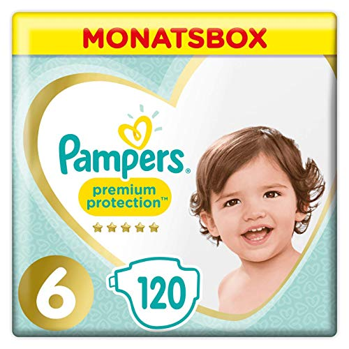Pampers Premium Protection Windeln, Gr. 6, 13kg-18kg, Monatsbox (1 x 120 Windeln)