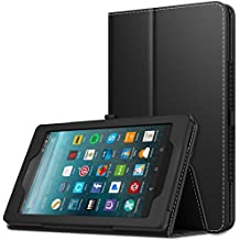 MoKo Amazon Fire 7 2017 Funda (7 Pulgadas, 7ª generación) - Ultra Slim Función de Soporte Plegable Smart Cover Stand Case para All-New Fire 7 Tableta, Negro (Auto Sueño/Estela)