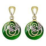 Pendientes Colgantes Mujer,  Moda Circón Aretes de Diamantes Artificiales Incrustado Amor Zarcillos de Oro Corazón para Niñas (3.5*2.1 cm, Verde)