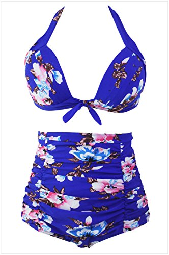 meinice Stampa Floreale Royal Blu vita alta Bikini Swimsuit Blue (Solid Bikini Panty)