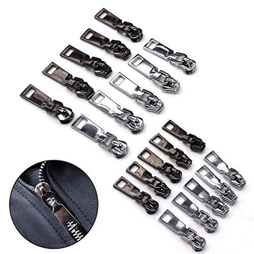 20 Stück Reißverschluss-Ziehlaschen Ersatz Reißverschluss Fixer Reparaturset Arretierungsset für Rucksack, Stiefel, Jacke, Gepäck, Stoff, Koffer, Mantel Silber und Schwarz (#3, 5) Instal Kit