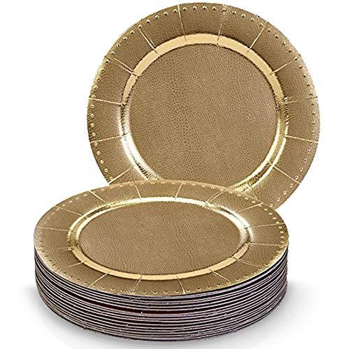 SOUS-ASSIETTES DE FÊTE JETABLES RONDES ASSORTIMENT 20 PCS | 20 sous-assiettes à dîner | Assiettes en carton résistantes | pour mariages et dîners de haut standing (Charger - métallisé/perles dorées)