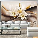 murando - Fototapete 350x256 cm - Vlies Tapete - Moderne Wanddeko - Design Tapete - Wandtapete - Wand Dekoration - Blumen Lilien Braun Blitz Abstrakt b-A-0250-a-b