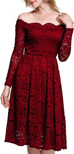 Meyison Damen Vintage 1950er Off Schulter Spitzenkleid Knielang Festlich Cocktailkleid Abendkleid Rockabilly Kleid Rot-XXL
