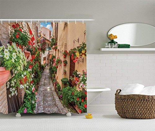 tgyew Tuscan Decor Collection, Sunset Rural Landscape of Tuscany Vineyard and Flowers Photography, Polyester Fabric Bathroom Shower Curtain Set with Hooks, 60x72 inches Extra Long, Yellow Red Green (Green Man Suite)