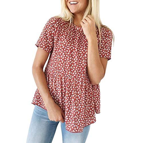 iHENGH Damen Top Bluse Bequem Lässig Mode T-Shirt Frühling Sommer Blusen Frauen Blumendruck Kurzarm Rundhals Tunika Tops(Rot, M)