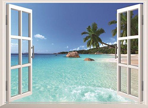 L-Peach 60*90cm 3D Mar Playa Ventaña Vinilo Pegatina Decoración para Dormitorio Salón Type D