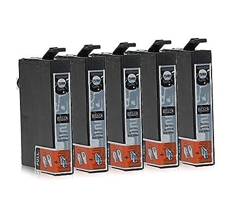 5 Cartouches d'Encre compatible avec Epson T1291 (Noir)