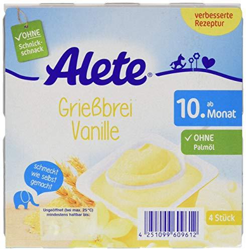 Alete Dessert Griessbrei Vanille, ungekühlt haltbar, ohne künstliche Aromastoffe & Palmöl, ab dem 10. Monat, 400 g