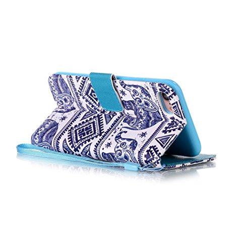 Ledowp Apple iPhone 8portafoglio in pelle, protezione integrale modello colorato design custodia in pelle custodia a portafoglio in pelle con slot per schede per iPhone 8 multicolore Flower #3 Elephant #1