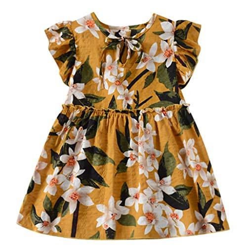 MEIbax Kleinkind Baby Kinder Mädchen Fliegenhülse Geraffte Blumen Prinzessin Kleider Minikleid Sommerkleid Blumenkleid (1960 Kind Blume)