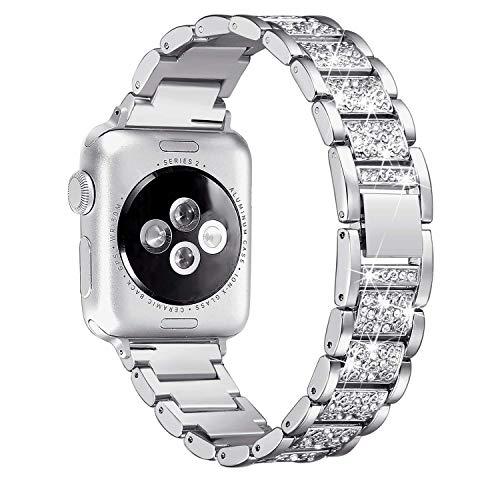 Ginamart Armband kompatibel mit Apple Watch Iwatch Band Serie 4 40 mm 44 mm Serie 3/2/1 38 mm 42 mm Damen Metall Edelstahl Schmuck Armband Armreif, Unisex, Silver Bling, 38mm/40mm