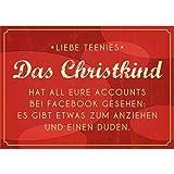 10x Witzige Weihnachtskarte * Liebe Teenies * Das Christkind hat all Eure Accounts bei Facebook gesehen
