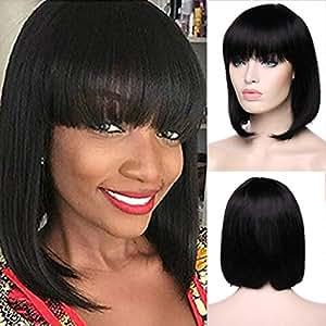 "SUNMAY 100% Pure Human Hair Natural Straight BOB Wigs with Bangs Fringe Brazilian Human Hair Glueless Wigs Natural Black Color (8"")"