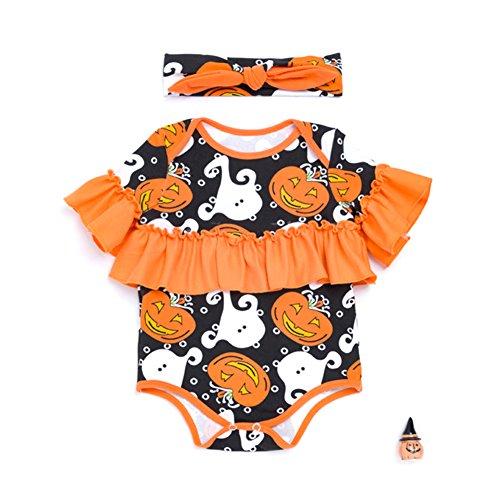 Zantec 2 PCS Baby Kind Baumwollspielanzug Halloween Kurzschluss Hülsen Overall Spielanzug + Hairband