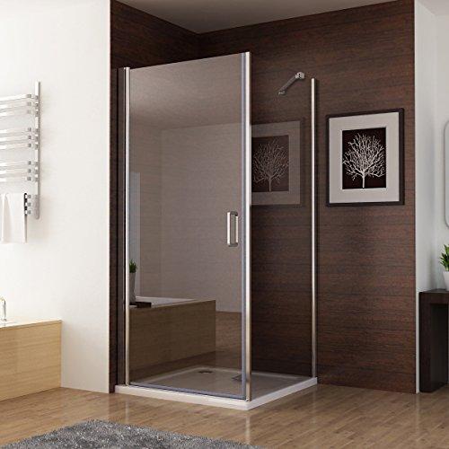 Duschkabine mit 180 Grad Schwingtür, 90 x 75 (Seitenwand) x 195cm im Vergleich - 2
