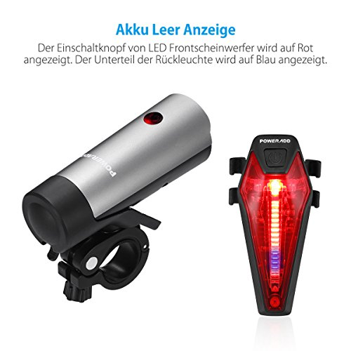 Poweradd StVZO zugelassen LED Fahrradlicht Set, inkl. Frontlichter und Rücklicht, Wiederaufladbare Fahrradbeleuchtung Set mit hellen Leuchten und Einfacher Installation, energiesparend, Regen- und Stoßfest - 8